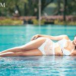 Neha Sharma, swimming dress, 2 piece, lying