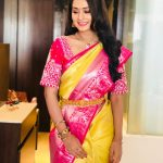 Payal Rajput, yellow saree, pink border