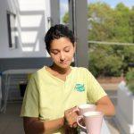 Priya Bhavani Shankar, tea, cup, nomakeup