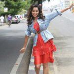Raiza Wilson, latest, red dress, smile