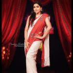 Rashmi Gautam, red and white saree, sensual