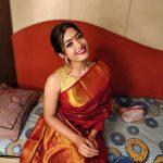 Rashmika Mandanna, red saree, pattu, romantic