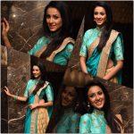 Riya Suman, Blue Saree, cute girl