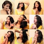Riya Suman, Paper Boy Actress,  yellow dress, collage