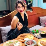 Shivani Singh, black dress, food, eating