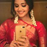 Anupama Parameswaran, saree, smile, selfie, Hello Guru Premakosame