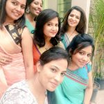 Dhivyadharshini, gang, girls, saree