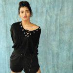 Hebah Patel, model, black towser