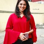 Indhuja, full size, red dress