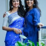 Keerthy Suresh, friends, girls, saree, blue saree