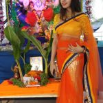 Komal Jha, Glamour Actress, orange saree, hip show