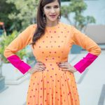 Lakshmi Manchu, Kaatrin Mozhi actress, orange dress