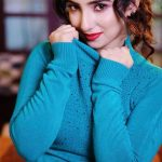 Leema Babu, Yaazh actress, blue dress