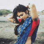 Malavika Mohanan, blue saree, spicy