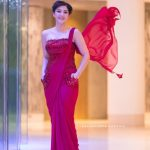 Mehrene Kaur Pirzada, Nota actress, glamour, red fashion dress