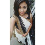 Monica Chinnakotla,  Genius Actress, white saree, selfie