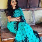 Nithya Ram, Savalige Sye anchor, blue saree