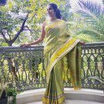 Priya Anand, LKG tamil Actress, green saree, home