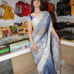 Sidhika Sharma, blue saree