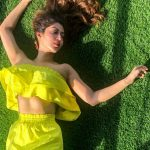 Sonarika Bhadoria,  yellow dress, lying