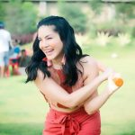 Sunny Leone, red dress, smile