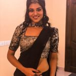 Top Tamil Actress,  Indhuja, balck saree, spicy