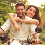 Adanga Maru, Jayam Ravi, Tamil Movie, Rashi Khanna, bike, hug, romance