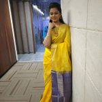 Anitha Sampath, Sun Tv, Anchor, Yellow saree, attractive Eyes