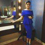 Anitha Sampath, Sun Tv, blue dress, makeup room