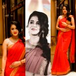 Anjana Rangan, saree, collage, hd, wallpaper
