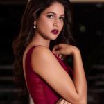 Lavanya Tripathi, Mudra heroine, red lipsstick, side pose