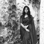 Megha Akash, recent, saree, black & white