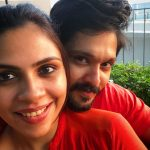 Nakul, Shruthi Bhaskar, selfie, red dress