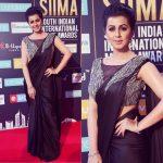 Nikki Galrani, event, black saree, saree, glamour