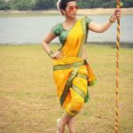 Nikki Galrani, full size, saree, yellow saree, Charlie Chaplin 2