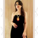 Prerna Khanna, model, black, red lipsstick, romantic