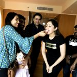 Sayyeshaa, cake, birthday, black dress, Ghajinikanth