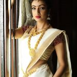 Sherlin Seth, Miss India 2017 Tamil Nadu, kerala saree, gold chain