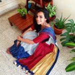 Sruthi Hariharan, Daari Thappisuva Devaru actress, saree, top view