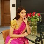 Vedhika, pink saree