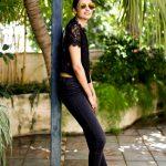 dayana erappa, chekka chivantha vaanam, large size, black dress
