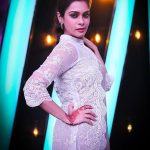 kiki vijay, white dress, television, anchor