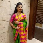 Anitha Sampath, Saree, TV News Anchor, village saree