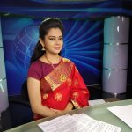 Anitha Sampath, Saree, Television News Anchor, set, makeup,