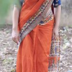 Anjali Rao, Pothanur Tabal Nilayam Actress, orange saree
