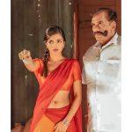 Ashna Zaveri, Ivanukku Engeyo Macham Irukku Heroine, red half saree, father