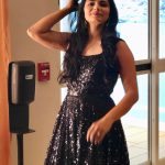 Chinmayi, black dress, glamour