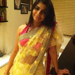 Chinmayi, saree, yellow, no makeup