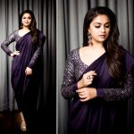 Keerthi Suresh, recent, collage, saree