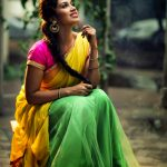 Nivetha Pethuraj, full size, saree, yellow saree